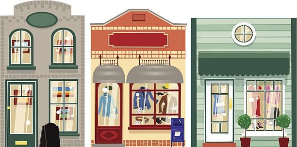 drei kleine boutiquen - straßenschilder stock-grafiken, -clipart, -cartoons und -symbole