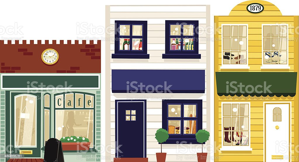 Three small boutique stores vector art illustration