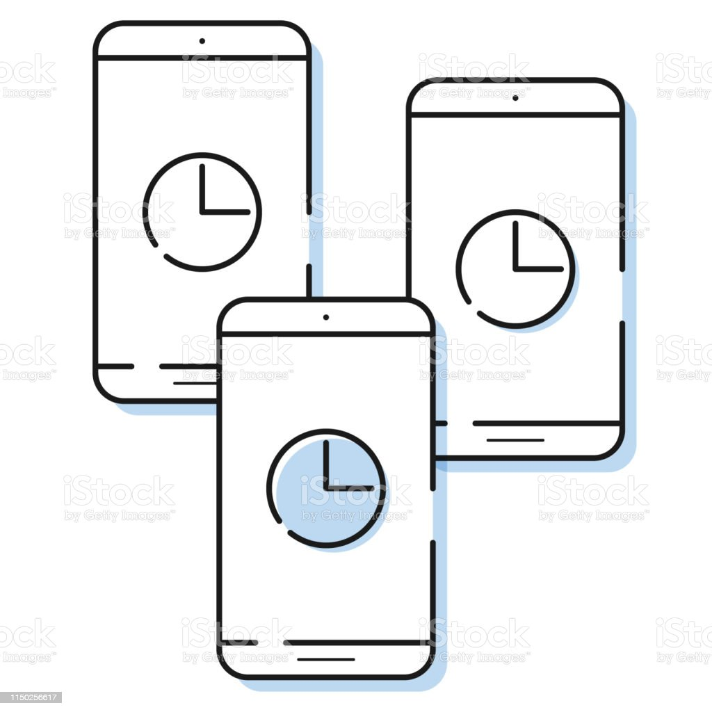 three smartphone icons with clock in simple line style  outline cell phone  vector  - illustration