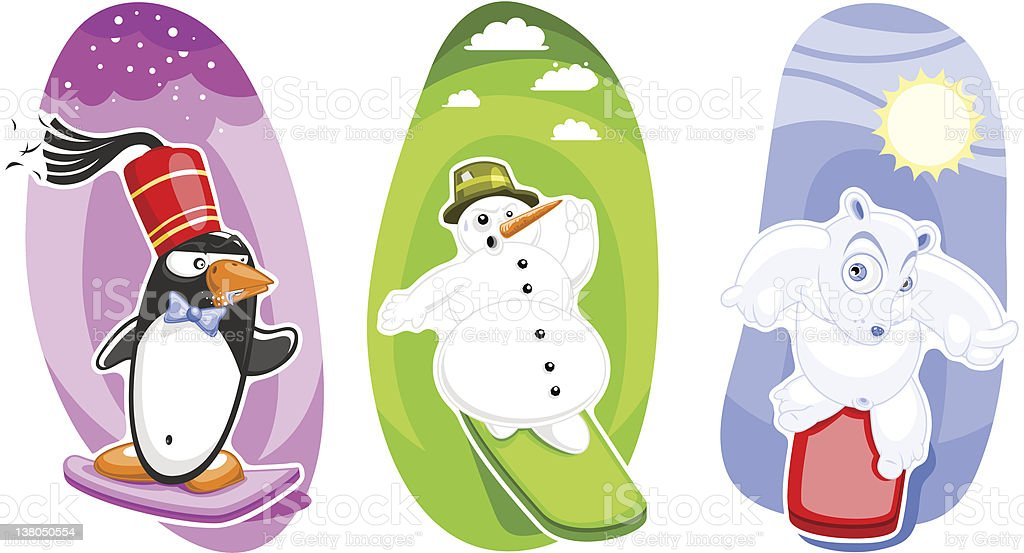 Three snowboard characters in sportive action (vector) vector art illustration