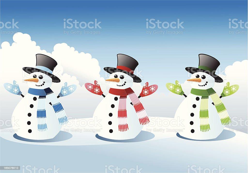 Three snowmen royalty-free stock vector art