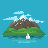 Summer, spring day vector icon. Three snowy mountains with green hills, lush green trees and bushes, lake, sailboat and clouds on a blue background.