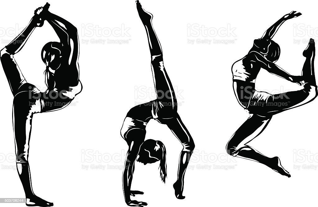 Three sports women silhouettes vector art illustration