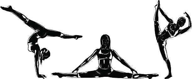 drei sport frauen silhouetten - spagat stock-grafiken, -clipart, -cartoons und -symbole