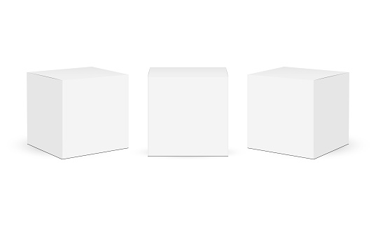 Three square paper boxes mockups isolated on white background