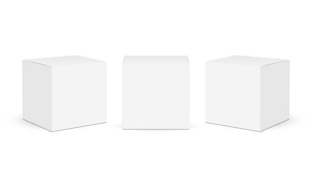 Three square paper boxes mockups isolated on white background Three square paper boxes mockups isolated on white background. Vector illustration cube stock illustrations