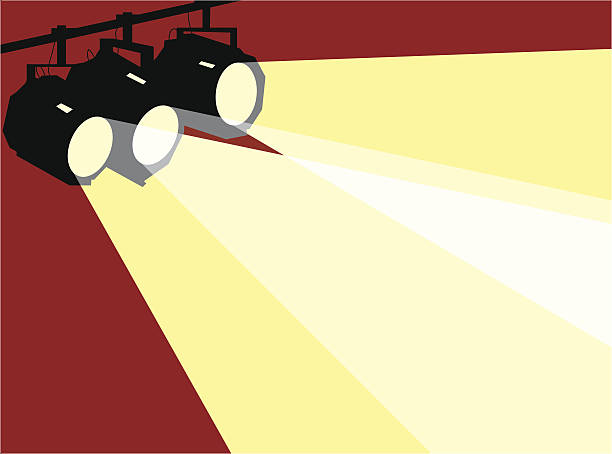 Three stage spotlights, background Three stage spotlights in a simple graphic style stage light stock illustrations