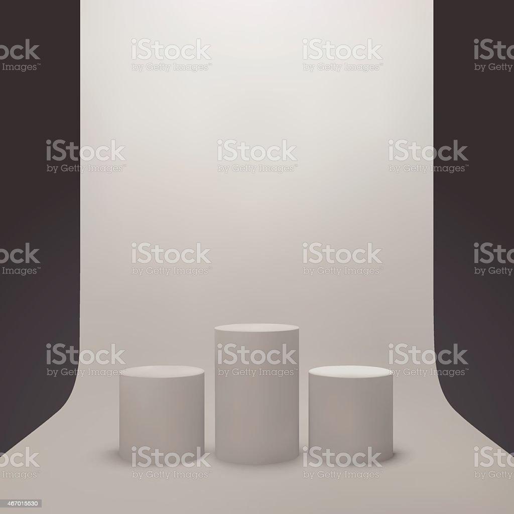 3 つの独立した白い背景ベクトルスタジオ光アイデアコンセプト の