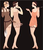 3 standing talking flapper girls (20's style): Retro fashion party