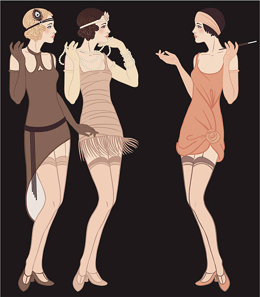 three standing talking flapper girls (20's style): retro fashion party - 1920s style stock illustrations, clip art, cartoons, & icons