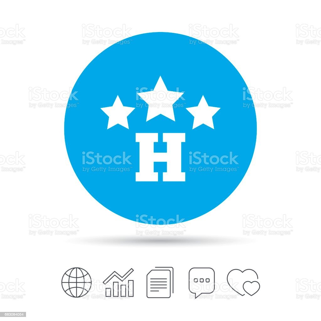 Three star Hotel sign icon. Rest place. three star hotel sign icon rest place - arte vetorial de stock e mais imagens de apartamento royalty-free