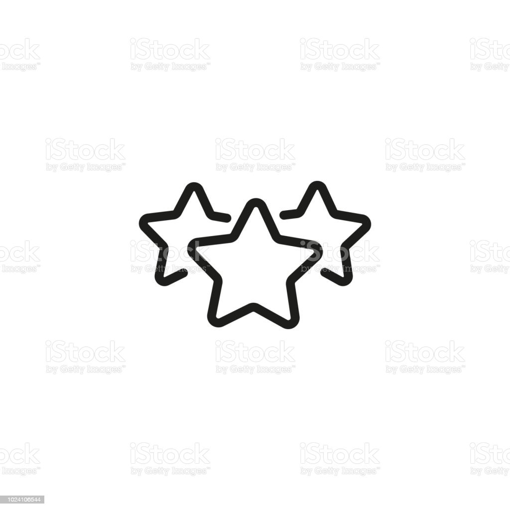 Three Star Rating Line Icon Stock Vector Art More Images Of