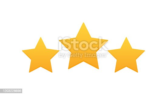 Three stars customer product rating review. Modern flat style vector illustration.