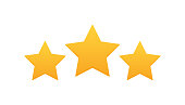 istock Three stars customer product rating review. Modern flat style vector illustration 1203228695