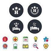 istock Three stars hotel icons. Travel rest place. 697712816