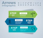 Three step arrows infographic concept with space for your content. EPS 10 file. Transparency effects used on highlight elements.