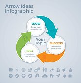 Three step arrow infographic concept with space for your copy. EPS 10 file. Transparency effects used on highlight elements.