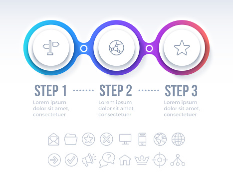 Three step moving forward return coming back step by step plan infographic diagram.