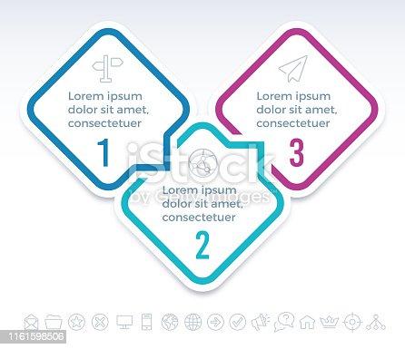 Five step speech bubble diamond infographic symbols.