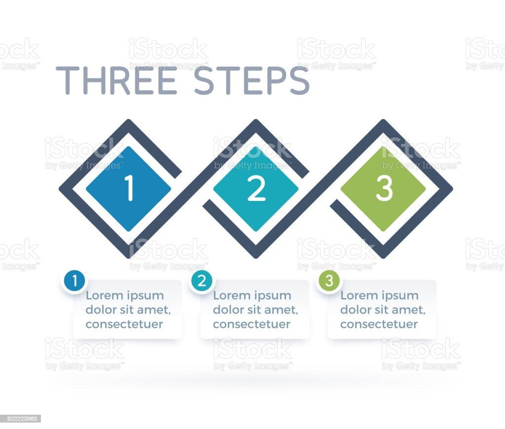 Three Step Process Infographics vector art illustration
