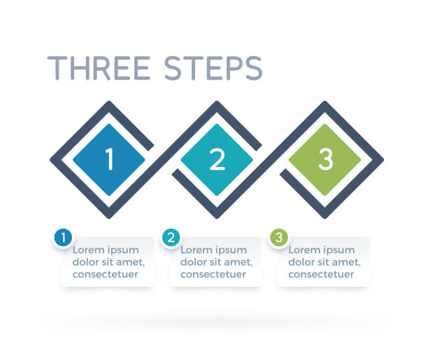 three step process infographics - three shapes stock illustrations, clip art, cartoons, & icons