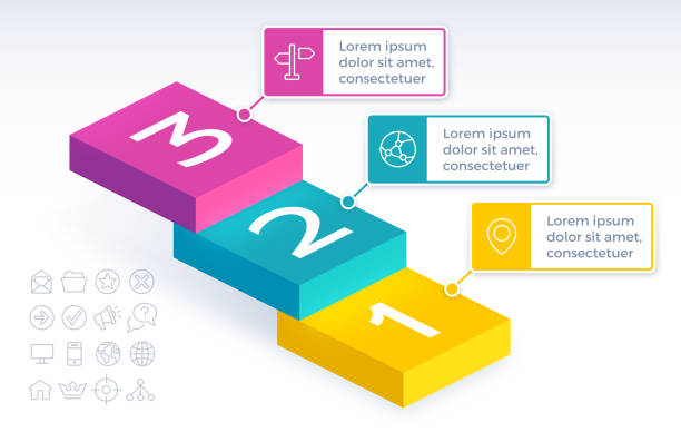 drei-stufen-treppen-infografik - treppe stock-grafiken, -clipart, -cartoons und -symbole