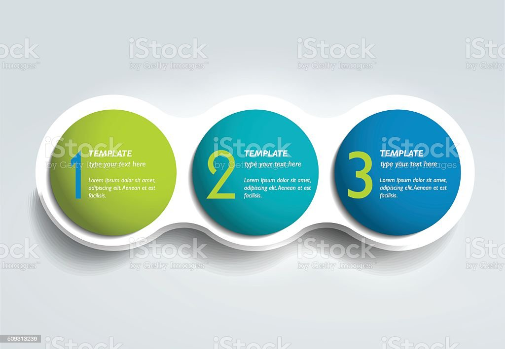 Three steps elements bubble chart, scheme, diagram, template. Infographic template. vector art illustration
