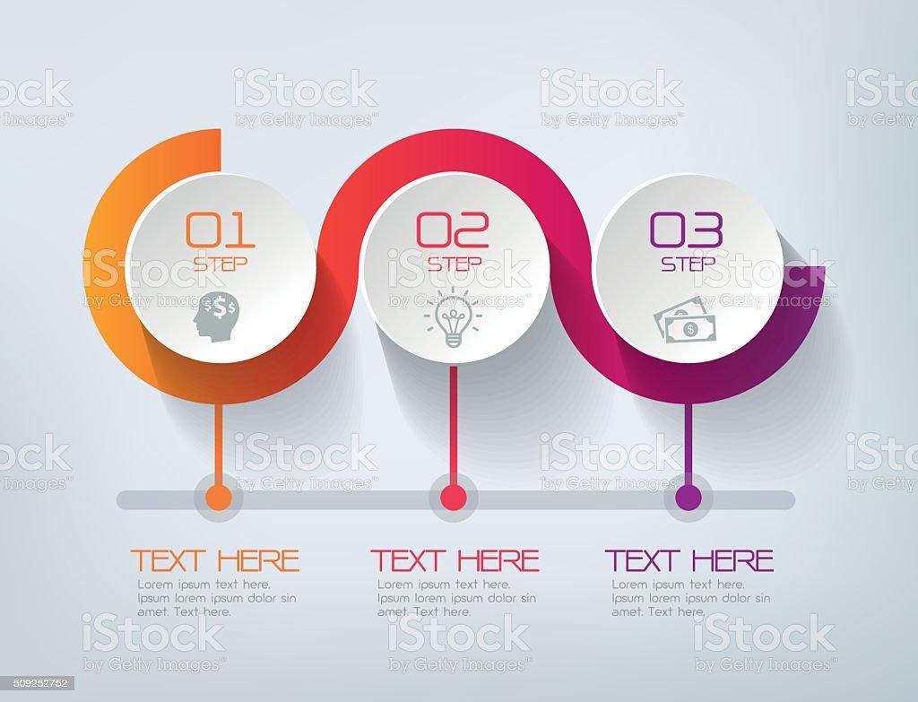 Tres pasos infografías, el éxito de la empresa - ilustración de arte vectorial