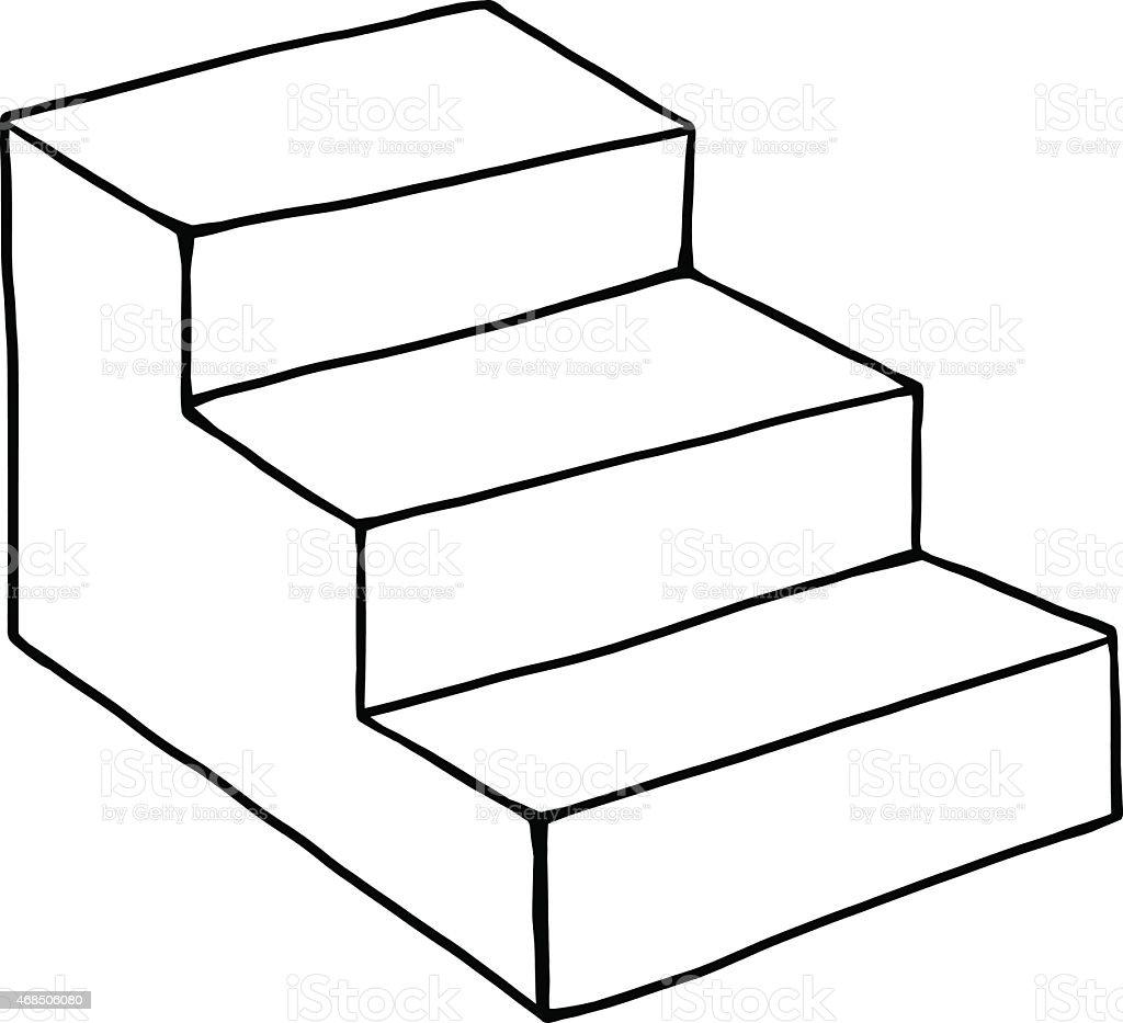 ... Three Steps Stair Drawing Vector Art Illustration ...