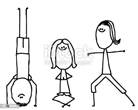 Three Stick People Practicing Yoga Stock Vector Art & More ...