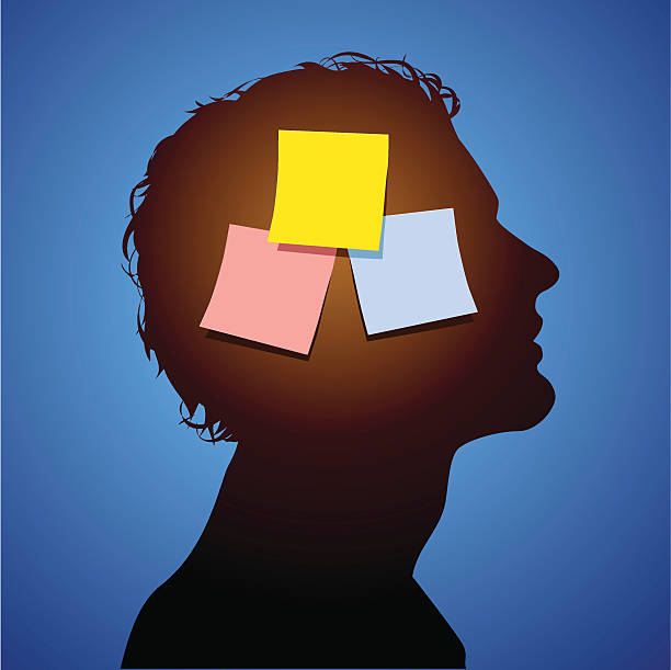 Three sticky notes on a human head representing mental notes vector art illustration