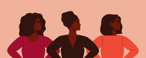 Three strong African women stand together. Three strong African women stand together. Concept of fighting for equality and female empowerment movement. Vector horizontal banner. african american ethnicity stock illustrations