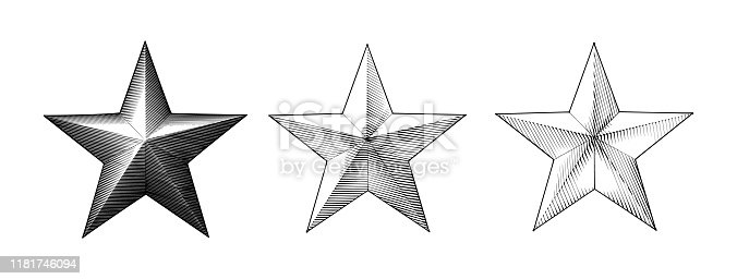 Monochrome vintage Engraved drawing Christmas star three style vector illustration isolated on white background