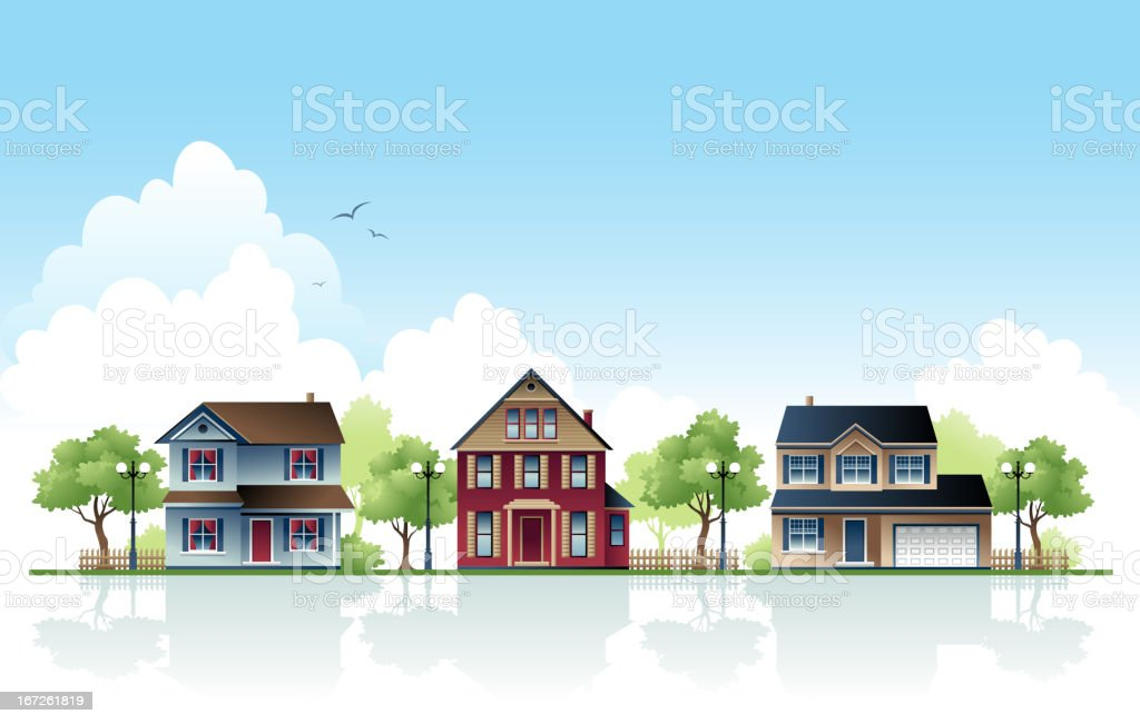 Three Suburban Houses in a Row During Day vector art illustration