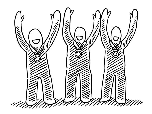Three Successful Celebrating Human Figures Medals Drawing Hand-drawn vector drawing of Three Successful Celebrating Human Figures with Medals. Black-and-White sketch on a transparent background (.eps-file). Included files are EPS (v10) and Hi-Res JPG. celebration stock illustrations