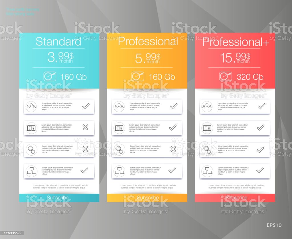 Three tariffs banners. Web pricing table. vector art illustration