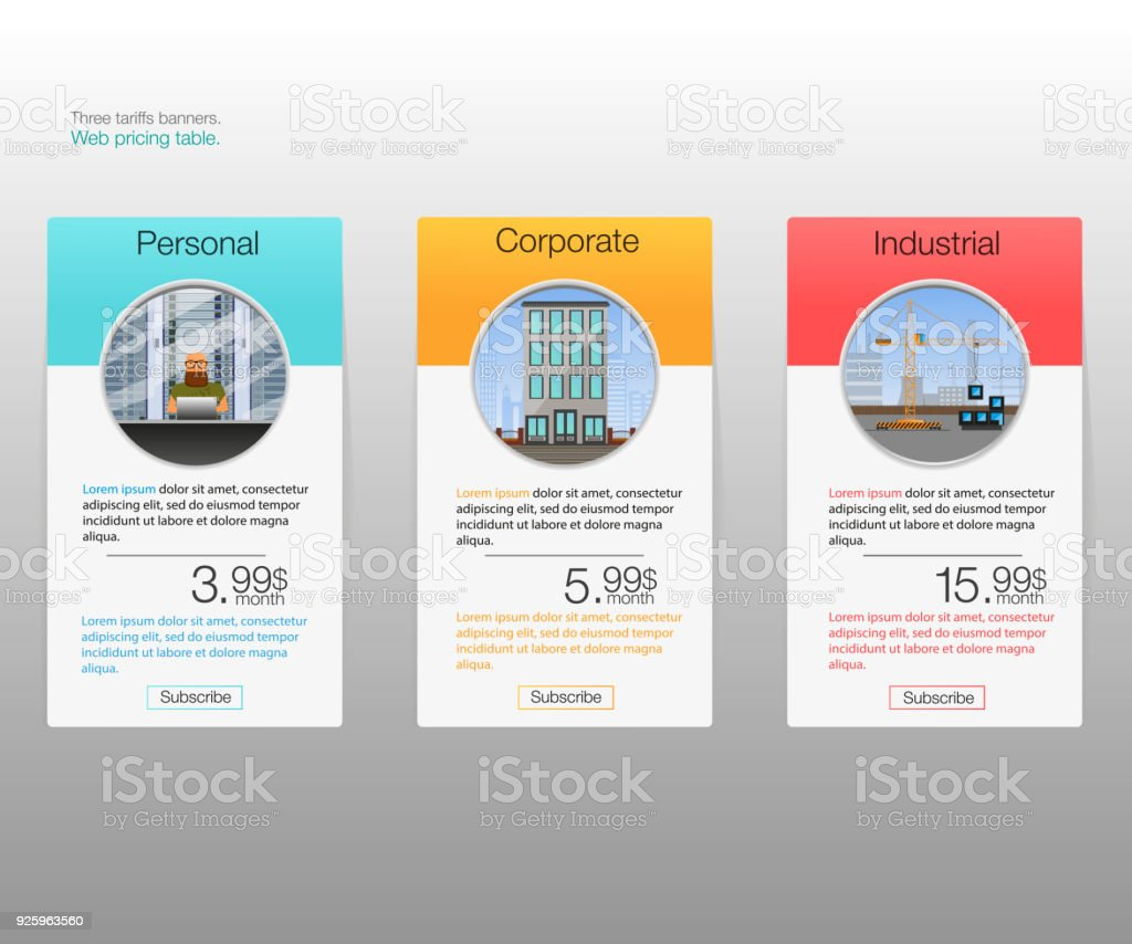 Three tariffs banners. Web pricing table. vector art illustration