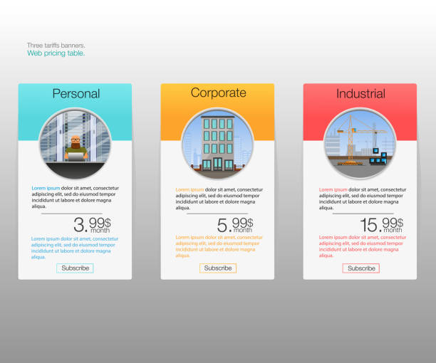 three tariffs banners. web pricing table. - pricing infographics stock illustrations, clip art, cartoons, & icons