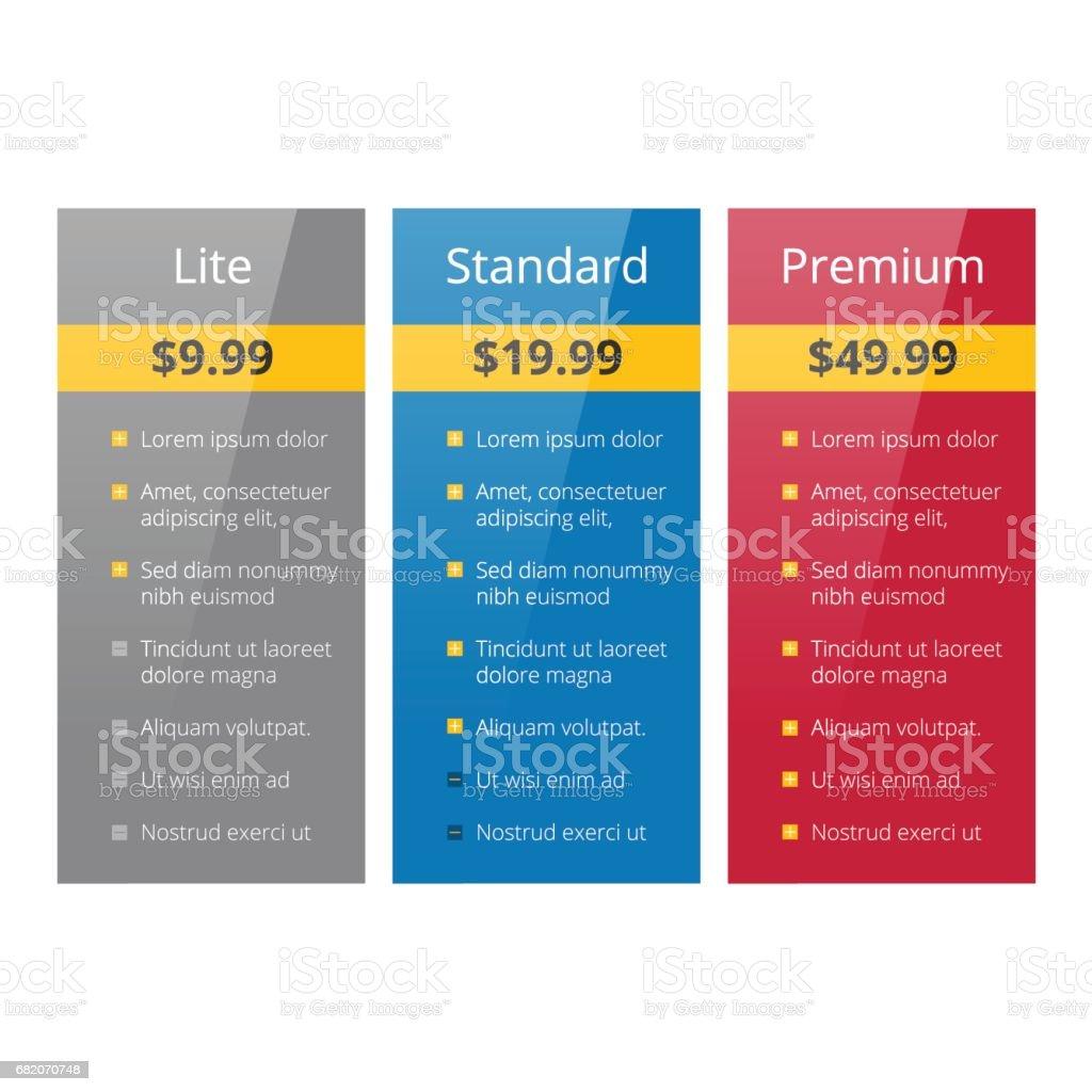 three tariffs plan vector art illustration