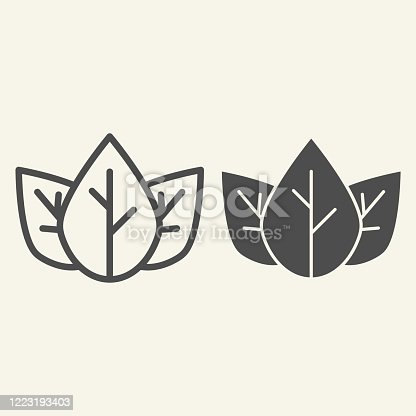 istock Three tea leaves line and solid icon. Spa and organic symbol, outline style pictogram on beige background. Loose tea leaf sign for mobile concept and web design. Vector graphics. 1223193403