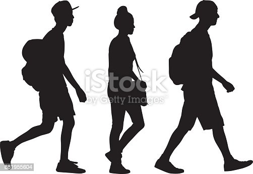 Vector silhouette of three teens walking together in a row.