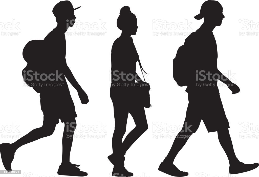Três adolescentes andando a silhueta - ilustração de arte em vetor