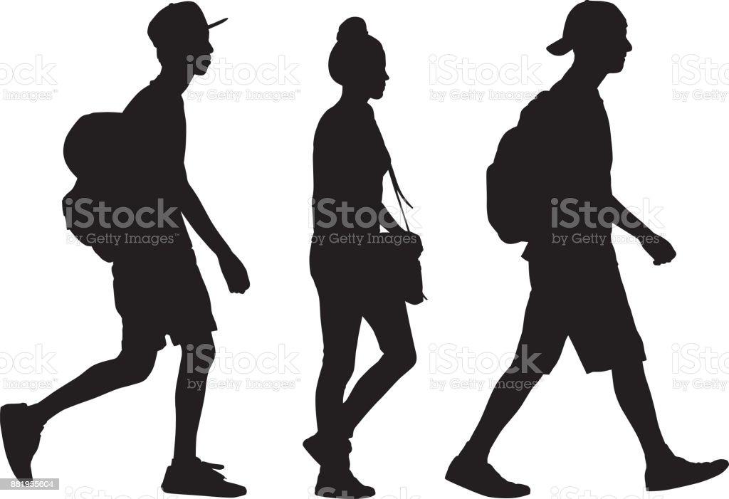 Tres adolescentes caminando silueta - ilustración de arte vectorial