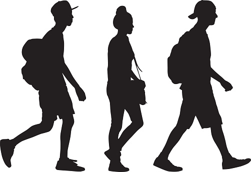 teen silhouettes stock illustrations