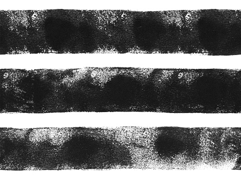 Three thick black horizontal lines painted carelessly by paint roller and thick black acrylic paint - seamless abstract pattern on white paper background with visible transparency uneven paint application dots and spots - artwork in vector