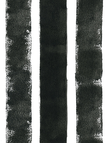 Three thick black lines painted carelessly by paint roller and thick black paint - seamless abstract art isolated on white paper background with visible uneven paint application - dots spots splashes and dirties - stock illustration- małe.jpg Three thick