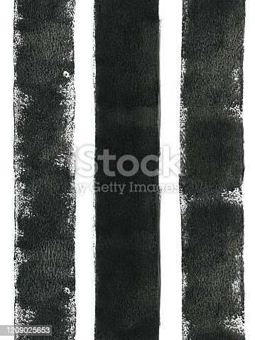 Three thick vertical lines in black painted by thick black paint and small sponge paint roller on A4 printing paper. Seamless pattern rich in details - natural spontaneous lines imprints transparencies.  SEAMLESS PATTERN - duplicate it vertically and/or horizontally to get unlimited area without visible connections!  VECTOR FILE - enlarge without lost the quality!  HIGH DETAILED FILE - zoom to see the details!