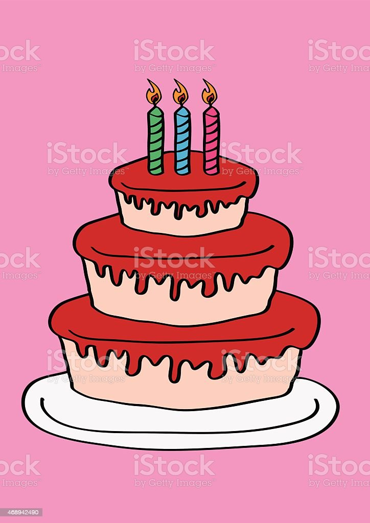 Magnificent Three Tier Birthday Cake With Three Candles Stock Illustration Funny Birthday Cards Online Fluifree Goldxyz