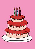 Vector cartoon illustration of a three-tier birthday cake with strawberry sauce and three candles isolated on pink background