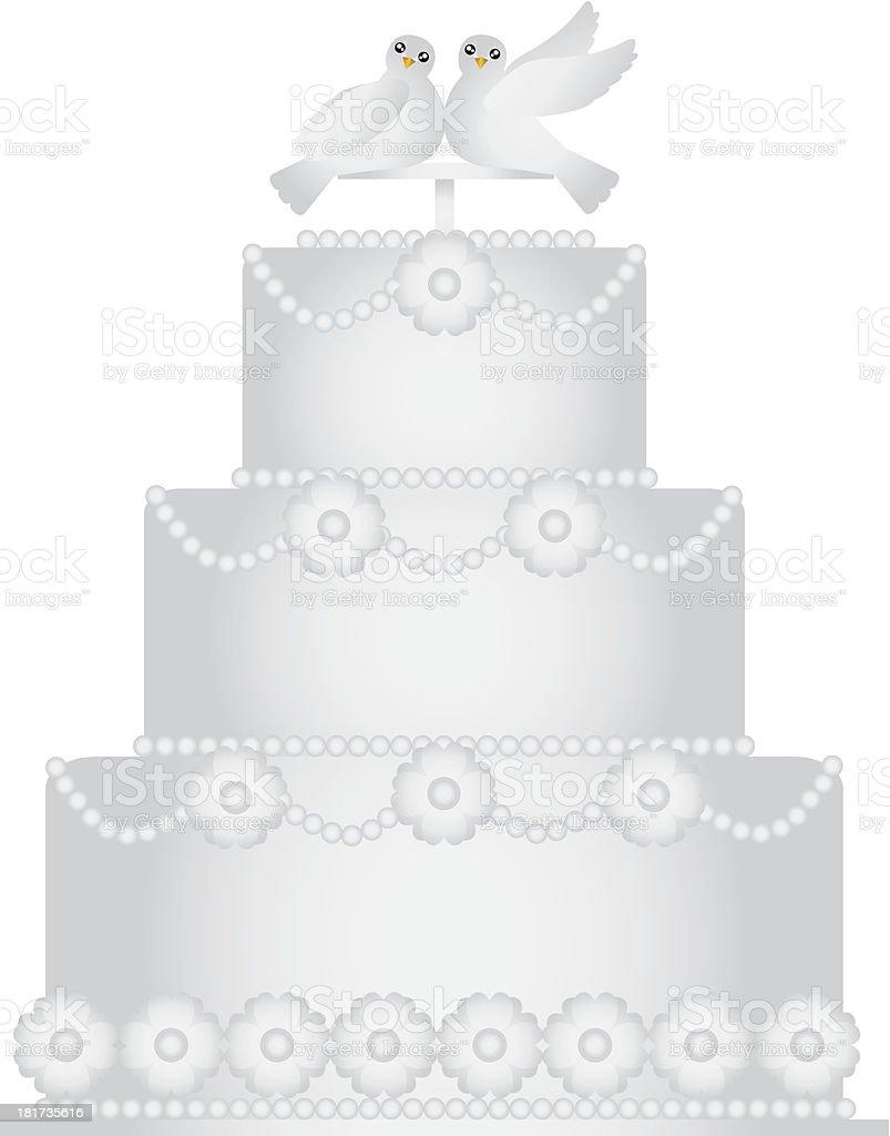 Três camadas de bolo de casamento com um par de pombos vetor - ilustração de arte em vetor